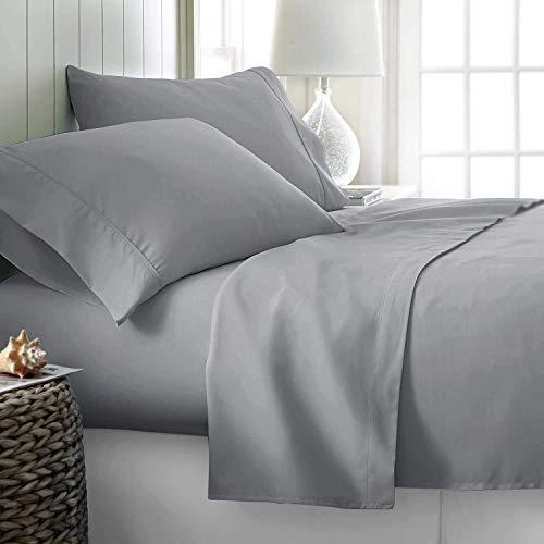 RV Short Queen Bed Sheet Set 4Pc Cotton Sheets 600TC 100% Natural Cotton Bed Sheet Set, Super Soft Best-Bedding Sheets for Bed, Fits Mattress 10-15 inches Deep Pocket (Short Queen, Silver)