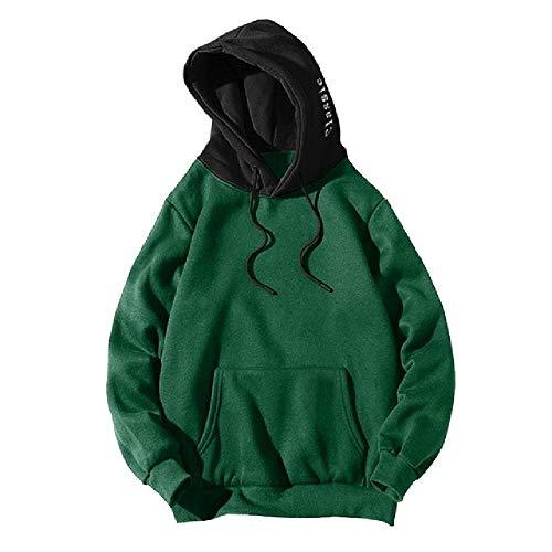 Herren Casual Patchwork Sweatshirt Hoodie Men Loose Hip Hop Sweatshirt Pullover Male Langarm Street Wear Hoodies Gr. XX-Large, grün