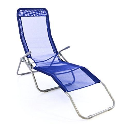Gartenliege Bäderliege 160 x 48,5 x 100 cm Textilene blau 5kg Armlehne Stahlrahmen Relaxliege klappbar Kippliege bis 100 kg belastbar wetterfest pflegeleicht Farbe wählbar grau blau schwarz (Blau)