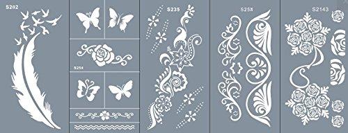 Beyond - Stencil per tatuaggi in microrete, mascherine per fare disegni sul corpo, autoadesive, semplici e riutilizzabili, set Kaya da 5 fogli