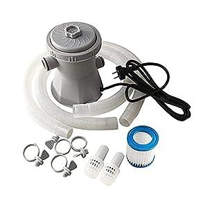 Set Depuradora Cartucho Filtro de Agua Portátil con Accesorios, Bomba con Filtro para Piscina, 15W, 300/600/800 Galones