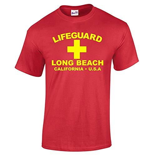 T-shirt da uomo con scritta in lingua inglese 'Lifeguard Long Beach California USA', vestito da spiaggia, stile da surfista Red X-Large