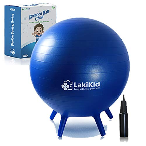 """Balance Ball Chairs for Kids: LakiKid Flexible Seating Classroom Furniture- Stability Ball Chairs with Legs, Exercise Ball Chair, Yoga Ball Chair, Ideal Alternative Seating for Students (18""""/45 cm)"""