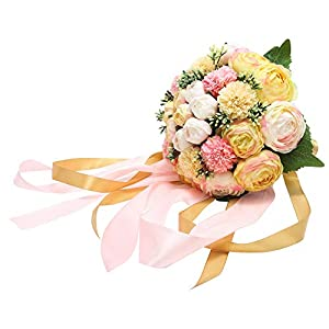Febou Wedding Bridal Bouquet, Silk Peony Wedding Bride Bouquet, Wedding Holding Bouquet with Artificial Peony Long Ribbons, Perfect for Wedding, Party, Church (D-Champagne)