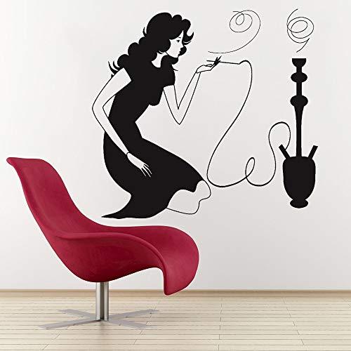 Ofomox Rauch Wandtattoo Shisha Shisha Arabisch Cafe Home Decor Sexy Frau Rauchen Vinyl Wandaufkleber Wohnzimmer Kunst Kleid56x60cm
