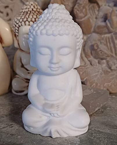 RK Collections 2' Mini Buddha Statue | Idol | Decorative Figurine in Pristine White Finish in Meditation Pose. Small Serene Statue.