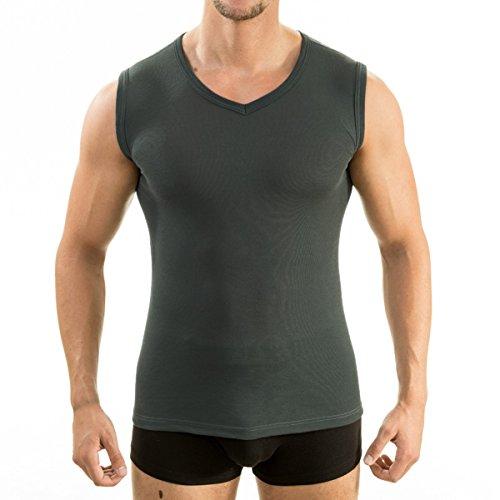 HERMKO 63050 Herren Funktions Tank Top mit V-Ausschnitt Funktionsunterwäsche Unterhemd aktiv schnelltrocknend Muskelshirt, Größe:D 7 = EU XL, Farbe:Graphit