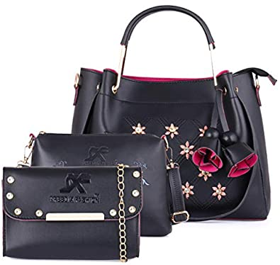 Speed X Fashion Women's Handbag With Sling Bag & Clutch PU Combo (Set of 3)