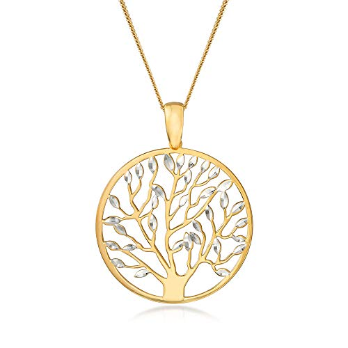 Ross-Simons Italian 18kt Gold Over Sterling Cut-Out Tree Of Life Pendant Necklace. 18 inches