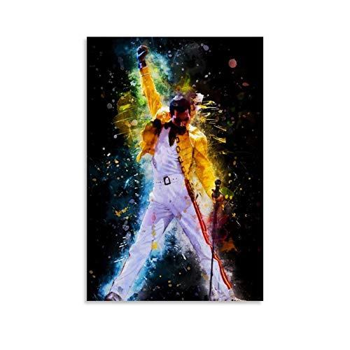 AISHNI Freddie Mercury Watercolor.webp Poster decorativo su tela da parete per soggiorno, camera da letto, 30 x 45 cm