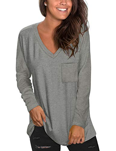 NSQTBA Long Sleeve Tunic Tops for Women V Neck Loose Fit Shirts Lightweight Grey S.