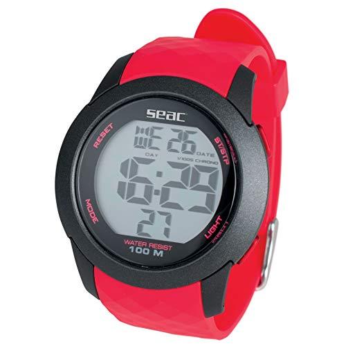 Seac Chronos - Reloj Digital Resistente al Agua, 100 m, Unisex, para Adulto, Rojo, estándar