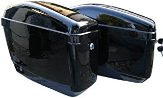 EGO BIKE GA Vivid Black Motorcycle Hard Saddlebags Trunk for Yamaha Harley Crusier