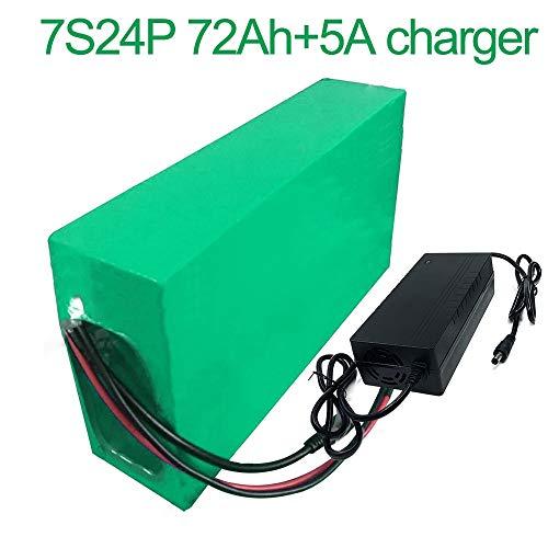 Met 5A oplader 24V 72Ah 25.9V 7S24P Li-ion Batterij E-Bike elektrische fiets 275x235x70mm accu
