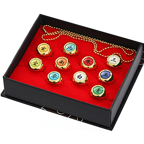 Juego de anillos de Naruto en caja, anillos Akatsuki, juego de anillos para cosplay de miembros, caja de Itachi Sharingan para los fans de Cosplay Ninja (oro)
