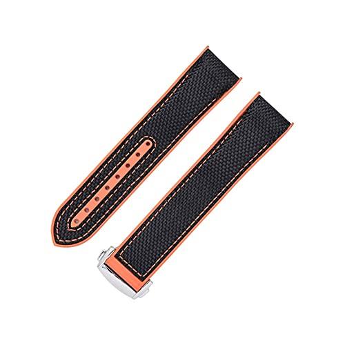 ZRNG Silicona + Nylon Reloj Correas 20m 22mm Ajuste para Omega Seamaster Ocean Watch Bands Goma Naranja Negro Deportes Ajuste para Longines (Band Color : Black Orange, Band Width : 22mm)