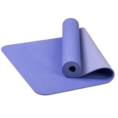 Strimusimak - Esterilla de yoga antideslizante para yoga, pilates, gimnasio, hogar, interior, ejercicio, suave, alfombra de yoga, color morado claro