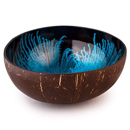 Kaloogo Cocobowl Splash Kokosnuss Deko Schale (blau, poliert)