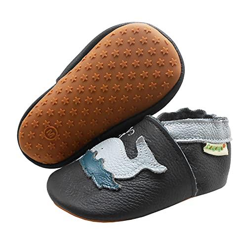 SAYOYO Zapatos de piel para niños y niñas, suela de goma suave, zapatos para aprender a andar, zapatos para gatear, color Negro, talla 21/22 EU