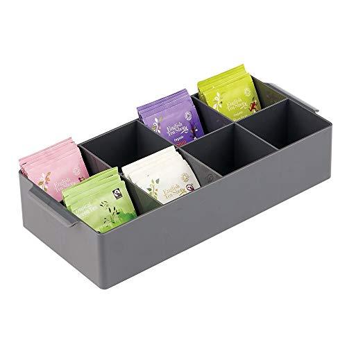 mDesign Organizador de cocina – Práctica caja de almacenaje para cocina y despensa – Cesta con asa y 8 compartimentos – Ideal para guardar té, café, especias y otros alimentos – gris pizarra