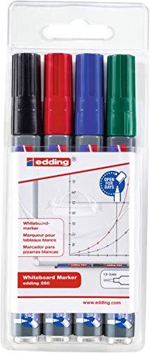 edding 250 Whiteboard-Marker - schwarz, rot, blau, grün - 4er Etui - Rundspitze 1,5 - 3 mm - trocken abwischbar auch auf fast allen geschlossenen Oberflächen wie Emaille, Glas und Melamin