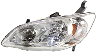 Headlight Lens and Housing Compatible with 2004-2005 Honda Civic Halogen Coupe/Sedan Driver Side