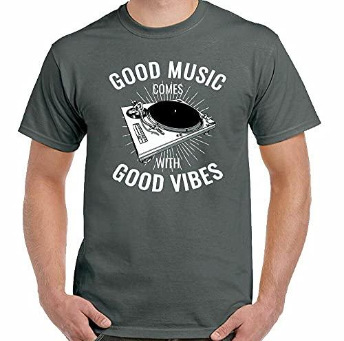 LKJF DJ Turntable Vinyl Record Player Technics Good Music Vibes from Funny T-Shirt Dark Grey 3XL