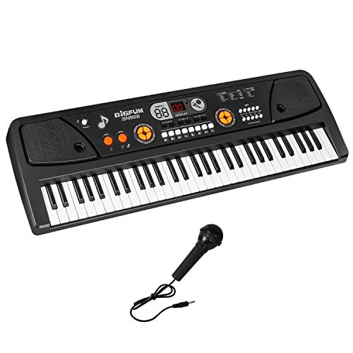M SANMERSEN Kids Keyboard Piano 61 Key Electronic Piano with Microphone Music Piano Keyboard with LED Screen Teaching Toy Gift for Boys Girls Children