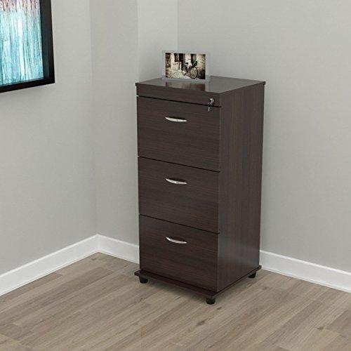 Vertical Three-drawer Espresso Wood Locking File Cabinet
