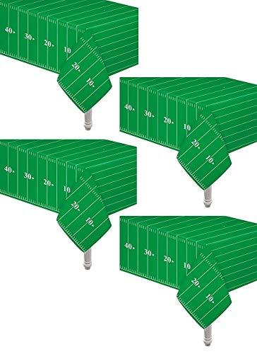 4 Pack Game Day Football Touchdown Tablecover 54' x 78' | 1 'Touchdown' letter banner | Ideal for Superbowl, NFL Games, Playoffs, Birthdays, Tailgate, Baby Shower, Football Party