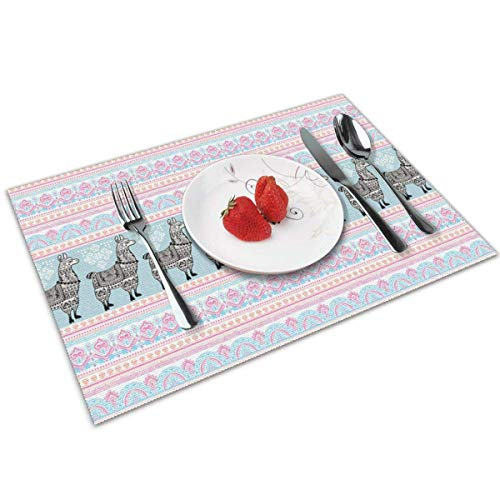 Place Mats Table Mat Llama Horizontal Borders with Patterned Alpaca Animal and Ethnic Folkloric Tribal Ornaments Multicolor Table Mat 30X45CM