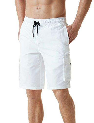TSLA Bañador para hombre de secado rápido, Hombre Niños Unisex adulto Infantil, color C Dos Bolsillos Laterales (msb01) - Blanco, tamaño small