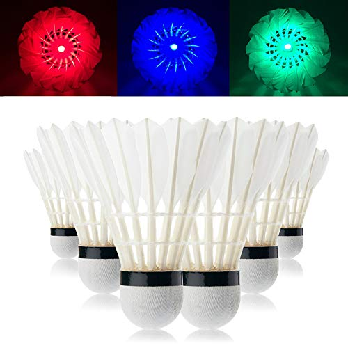 MHwan LED Federball, Badmintonball, Bunter Dark Night Glow Badmintonball mit großer Stabilität und Haltbarkeit für Outdoor-Indoor-Sportaktivitäten, 6 Stück
