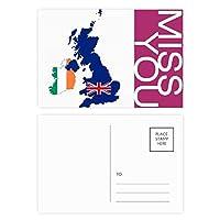 イギリス地図ユニオンジャック旗国地図英国 ポストカードセットサンクスカード郵送側20個ミス