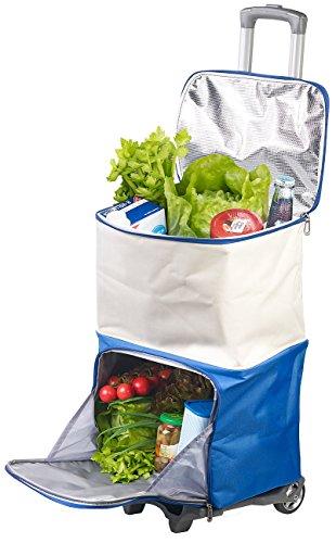 Xcase Einkaufstrolley: 2in1-Einkaufs-Tasche-Trolley mit geteilten ISO-Kühltaschen, 45 Liter (Einkaufswagen)