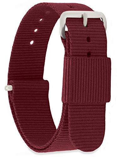 MOMENTO Cinturino Nato per Orologio Uomo Donna con Fibbia in Acciaio Inossidabile in Argento e Tessuto Nylon in Rosso Scuro (Bordeaux) 18mm