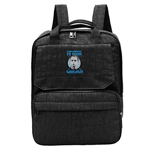 DJNGN Reiserucksack ICH Bin Immun gegen Ihren Sarkasmus Sheldon Cooper Gym Wandern Daypack College Laptop und Notebook-Tasche für Frauen und Männer