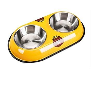 Chiens Gamelles et distributeurs Bols Doubles de Chien - l'eau d'animal familier d'acier Inoxydable et Le conducteur de Nourriture avec antidérapant Chiens Gamelles (Color : Yellow)