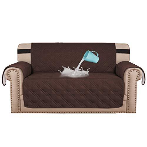 BellaHills 100% wasserdicht Zweisitzer Bezug für Haustiere Premium Quilted Furniture Protector Sofa Schonbezug für Love Seat Couch-Bezüge rutschfeste Bezüge für Wohnzimmer (2-Sitzer: Braun)