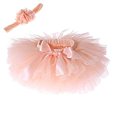 Baby Girls Tutu Skirt Headband Set Toddler Ruffle Tulle Diaper Covers 6-24 Months Peach