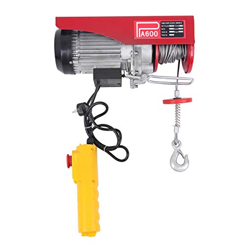 Paneltech GY-250DDHL-EU-PT Head Electric Cable Herch Rope Paranco, Rosso, 600 kg Capacità