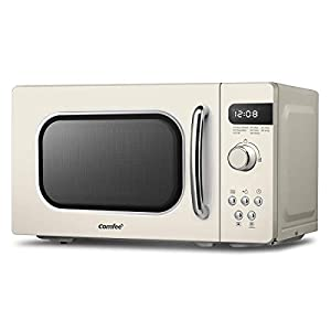 Comfee CM-M202RAF(CM) Microwave Oven Retro Style Countertop with 8 Auto Menus, 5 Cooking Power Levels, Express Cook Button, 800W, 20L – Apricot Cream