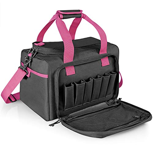 WINCENT Tactical Gun Range Bag Shooting Range Bags for Handguns and Ammo, Durable Shooting Duffle Bag Handgun Bag for Women with Magazine Slots, Multiple Compartments for Pistol Gear 30L Pink & Black