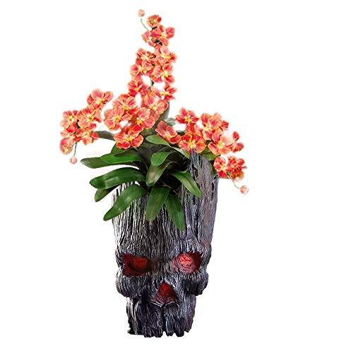 Skull Flower Pot, Treeman Pen Holder Flower Pot, Green Plant Creative Skull Flower Pot, Skull Makeup Brush Holder(Black)