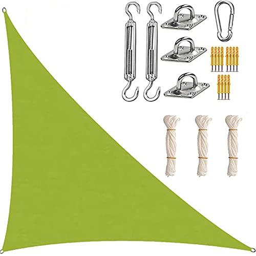 XYWML Toldo Vela De Sombra Triangular, Transpirable Protección Rayos UV Resistente para Patio Exteriores Jardín (3 x 3 x 4.3m,Verde)