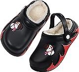 Kids Winter Warm Slip On Lined Clogs Indoor Bedroom Shoes Size 1 M US Black Big Kid