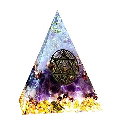 SHAONANSHI Joyería orgonite Energía Amatista pirámide de energía Chakra Healing la decoración del hogar de la Resina Decorativa del Arte (Color : Púrpura, Size : 4cm)