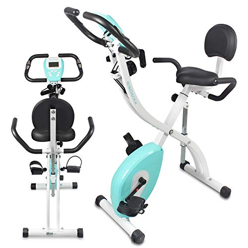 SereneLife Indoor Folding Stationary Exercise Bike - Foldable Stationary Bike Cycling Cardio Workout Equipment - Compact Home Bicycle Fitness Machine w/ 8 Resistance Level, Pulse Monitoring SLXB18