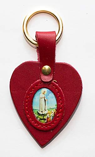 adriatica Cuero Llavero de Piel Corazón, Imagen congeladores Virgen de fátima, Paquete de 3Unidades, Color Marrón,