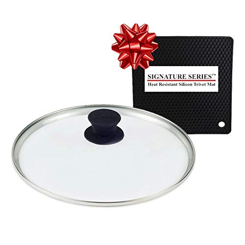 Lodge 10.25 Inch Glass Lid, Fits Lodge 10-10.25 Inch Cast Iron Skillets and 5 Quart Dutch Ovens + Signature Series Heat Resistant Silicon Pot Holder Trivet Mat